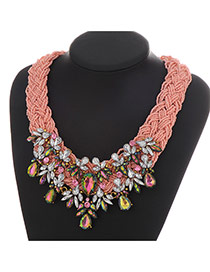 Vintage Pink Water Drop Shape Diamond Decorated Weaving Design Resin Bib Necklaces