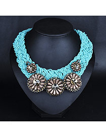 Exaggerated Brown Sunflower Shape Decorated Hand-woven Collar Design