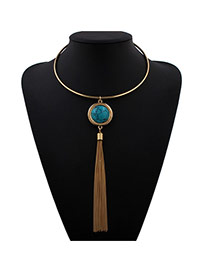 Exaggerate Blue Round Gemstone&tassel Pendant Decorated Collar Design Alloy Bib Necklaces