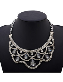Fashion Gray Water Drop Shape Diamond Decorated Hollow Out Design Alloy Bib Necklaces