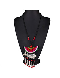 Vintage Red+black Moon&fish Pendant Decorated Tassel Design Embroidery Bib Necklaces