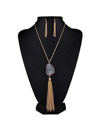 Fashion Gray Tassel&stone Pendant Decorated Simple Design Alloy Jewelry Sets