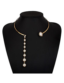 Luxury Gold Color Pearl Tassel Pendant Decorated Opening Design Alloy Chokers