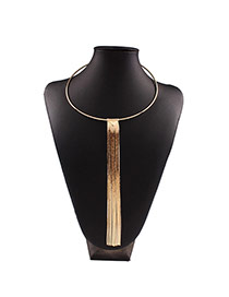 Exaggerated Gold Color Long Tassel Pendant Decorated Collar Design Alloy Bib Necklaces