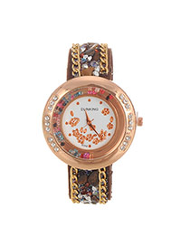 Fashion Coffee Flower Pattern Decorated Double Chain Design Fabric Ladies Watches