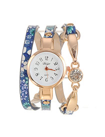 Vintage Blue Painted Flower Pattern Decorated Multi-layer Design Pu Ladies Watches