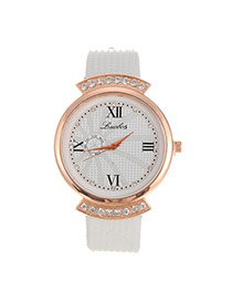 Fashion White Diamond Decorated Round Shape Design Pu Ladies Watches