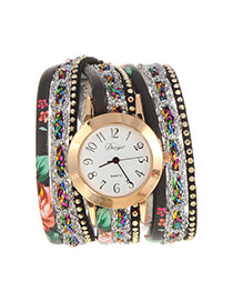 Fashion Black Flower Pattern Decorated Multi-layer Design Pu Ladies Watches
