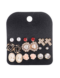Trendy Multi-color Cross&pearl Decorated Flower Shape Design Alloy Stud Earrings