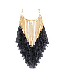 Fashion Black Tassel Pendant Decorated Double Layer Design Alloy Tassel Necklaces