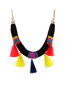 Exaggerated Multi-color Tassel Pendant Decorated Beads Weaving Design Measle Bib Necklaces