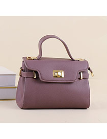 Trendy Brown Metal Buckle Decorated Candy Color Design Pu Handbags