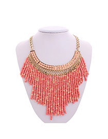 Bohemia Pink Mutlilayer Tassel Pendant Decorated Collar Design