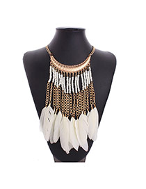 Bohemia White Metal Chain&beads Pendant Decorated Collar Design