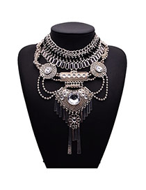 Retro Silver Color Gemstone Decorated Collar Shape Design Alloy Fashion Necklaces
