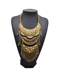 Retro Gold Color+yellow Diamond Decorated Tassel Design Alloy Fashion Necklaces