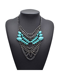 Retro Black Gemstone Decorated Multilayer Design Alloy Fashion Necklaces