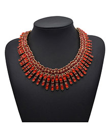 Exquisite Red Gemstone Decorated Collar Shape Design Alloy Fashion Necklaces