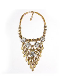 Exaggerate Gold Color Flower Decorated Collar Design  Alloy Fashion Necklaces