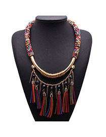 Exaggerate Multi-color Beads Weave Decorated Tassel Design Alloy Fashion Necklaces