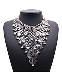 Exquisite Silver Color Waterdrop Diamond Weave Decorated Collar Design