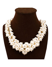 Exaggerate White Beads Decorated Weave Design Alloy Bib Necklaces