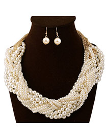 Exaggerat White Pearl Weave Decorated Multilayer Design