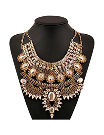 Elegant Yellow Gemstone Decorated Multilayer Design Alloy Bib Necklaces