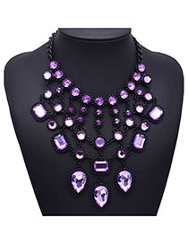 Elegant Light Purple Water Drop Diamond Decorated Multilayer Design