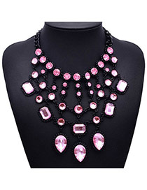 Elegant Light Pink Water Drop Diamond Decorated Multilayer Design