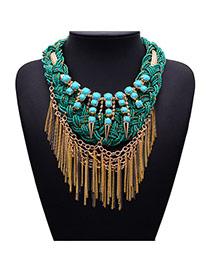 Elegant Green Tassel&rivets Decorated Weave Design