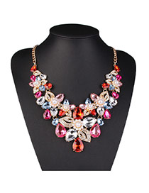 Trending Red Pearl Decorated Flower Shape Design Alloy Bib Necklaces