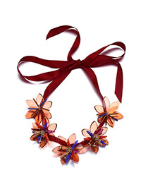 Personality Red Five Flowers Decorated Simple Design Acrylic Bib Necklaces