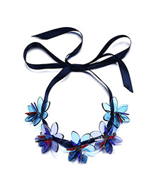 Personality Black Five Flowers Decorated Simple Design Acrylic Bib Necklaces