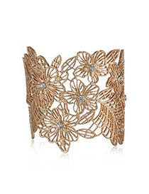 Personality Gold Color Flower Pattern Decorated Hollow Out Opening Design Alloy Fashion Bangles