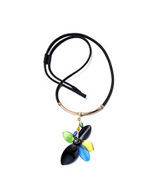 Personality Multicolor Flower Pendant Decorated Simple Design Acrylic Bib Necklaces