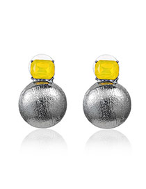 Personality Yellow Diamond Decorated Ball Shape Design Alloy Stud Earrings