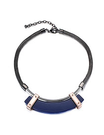 Exaggerate Blue Geometric Pendant Decorated Short Chain Design Alloy Bib Necklaces