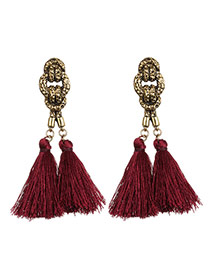 Vintage Claret-red Tassel Pendant Decorated Simple Design  Alloy Stud Earrings