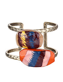Exaggerate Multi-colour Stone Decorated Double Layer Opening Design  Resin Fashion Bangles