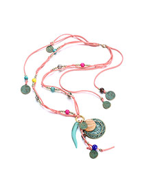 Personality Multicolor Round Pendant Decorated Multilayer Design Resin Bib Necklaces