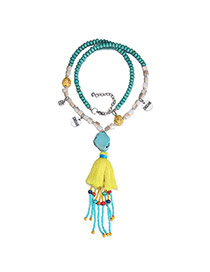 Trendy Blue Beads Decorated Tassel Design Turquoise Bib Necklaces