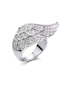 Fashion Silver Color Diamond Decorated Wing Shape Design Alloy Korean Rings