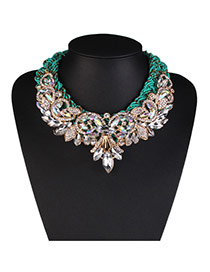 Fashion Green Oval Diamond Decorated Hollow Out Design Alloy Bib Necklaces