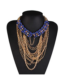 Fashion Blue Metal Chain Weaving Collar Design Alloy Bib Necklaces
