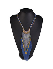 Fashion Blue Tassel Pendant Decorated Multi-layer Design Alloy Bib Necklaces