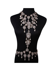 Exaggerate White Water Drop Diamond Decorated Hollow Out Design Alloy Body Chains