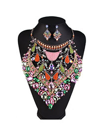 Fashion Multi-color Geometric Diamond Decorated Hollow Out Design Alloy Jewelry Sets