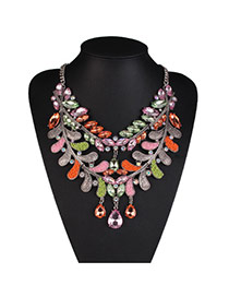 Exaggerate Multi-color Water Drop Diamond Decorated Double Layer Design