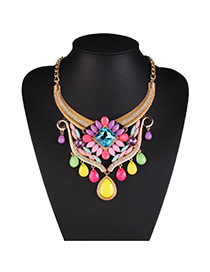 Fashion Yellow Water Drop Diamond Decorated Collar Design Alloy Bib Necklaces
